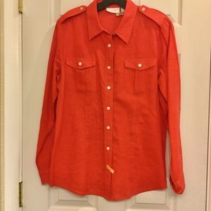 Chico's orange linen shirt